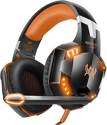 EACH G2000 Cuffie da Gioco Gaming Headphone con Microfono Stereo Bass LED Luce Regolatore di Volume per PC 2 jack (mic e altoparlanti) Arancione - Trova i prezzi più bassi