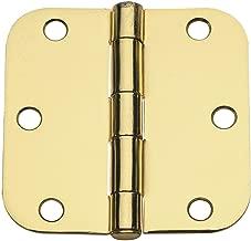 Global Door Controls 3.5 in. x 3.5 in. Satin Brass Plain Bearing Steel Hinge with 5/8 in. Radius - Set of 2