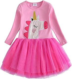 b71c9565fe658 VIKITA Robes Fille Printemps Été Coton Cartoon Floral Princesse Casual Enfant  2-8 Ans