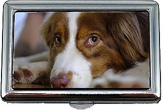 Cigarette Case Box,Dog Australian Shepherd Pet Predator Livestock,Business Card Holder Business Card Case Stainless