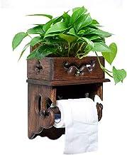 XYZMDJ Houten toiletpapierhouder-toiletpapierhouder, wandbevestiging, koperen weefselrolrek met houten opbergplank voor mo...