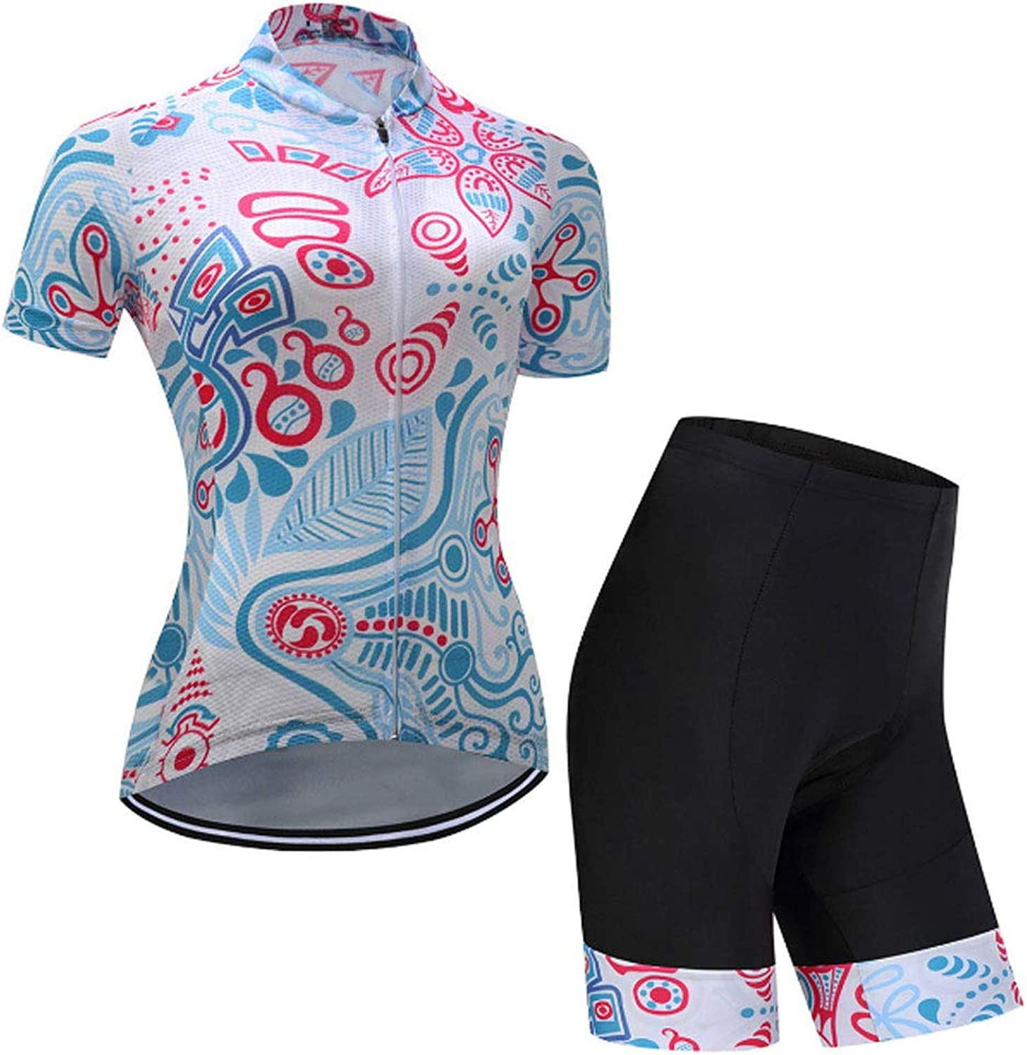 Women's Cycling Jersey Short Sleeve, Full Zip Bike Shirt Running Bicycle Clothes Top + 3D Gel Padded Bib Shorts Quick Dry Breathable
