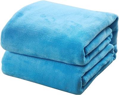 OUNONA ブランケット フランネル 軽量 ソフト 毛布 サイズ50x70cm(スカイブルー)