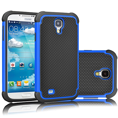 Tekcoo for Galaxy S4 Case, [Tmajor Series] [Blue/Black] Shock Absorbing Hybrid Rubber Plastic Impact Defender Rugged Slim Hard Case Cover Shell for Samsung Galaxy S4 S IV I9500 GS4 All Carriers