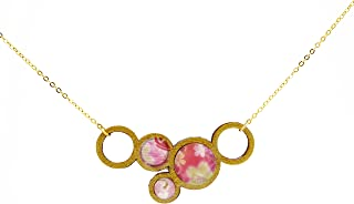 Five Gold Circles WOODEN Necklace with Pink Cherry Blossom Flower Pattern (K-Blossoms)
