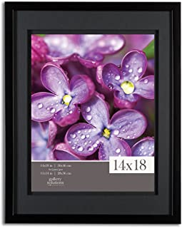 Gallery Solutions 14x18 Black Wood Wall Frame with Double Black Mat for 11x14 Image