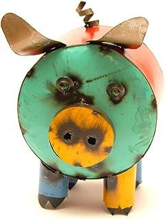 Rustic Arrow Cylinder Pig Garden Art, Multicolor