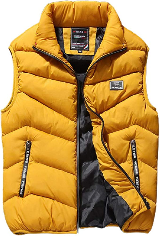 Chartou Men's Outdoors Casual Stand Collar Quilted Puffer Short Vest Waistcoat