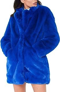 Women Winter Coat Faux Fur Warm Outwear Coat Long Sleeve Fur Jacket with Pockets
