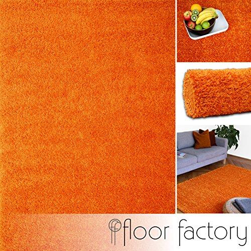 floor factory Hochflor Shaggy Teppich Colors orange 120x170cm - pflegeleichter und günstiger Langflorteppich