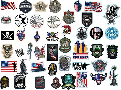 46 Pcs 2019 Military Stickers for Army, Hardhat sticker, Tool Box, Helmet, Toolbox, Car Bumper and 100% Vinyl Decals Waterproof For Construction, Electrician, American Flag | Military Assort|