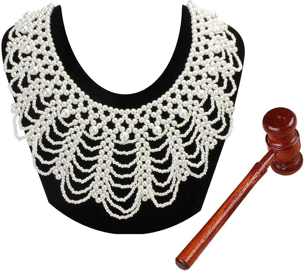 LEYSTARE Women's RBG Dissent Collar Beaded False Collar Necklace Costume