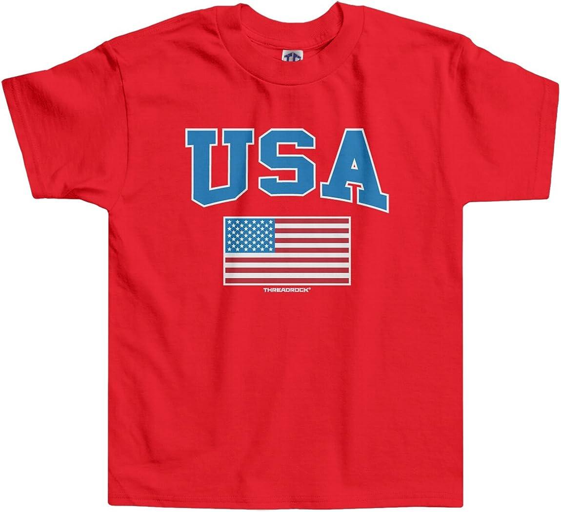 Threadrock Little Boys' USA Text and American Flag Toddler T-Shirt