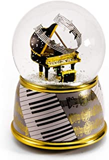 Music Theme Grand Piano with Painted Base Musical Water/Snow Globe - Over 400 Song Choices - Winnie The Pooh