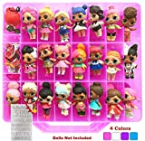 HOME4 Double Sided Storage Container - No BPA - Organizer Case - 48 Compartments - Compatible with Dolls LOL lils, Pets, Surprise Tiny Toys, Shopkins, Accessories, Beads, Crafts (Pink)