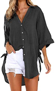 TINGZI Womens Tees Loose Button Long Shirt Dress Cotton Ladies Casual Tops T-Shirt Blouse Loose Comfy Tunic