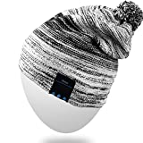 Rotibox Wireless Bluetooth Beanie Hat Pom Pom Headphone Headset Music Audio Cap for Women Men with Speaker & Mic Hands Free Outdoor Sports Compatible with iPhone Samsung Cell Phones - Black