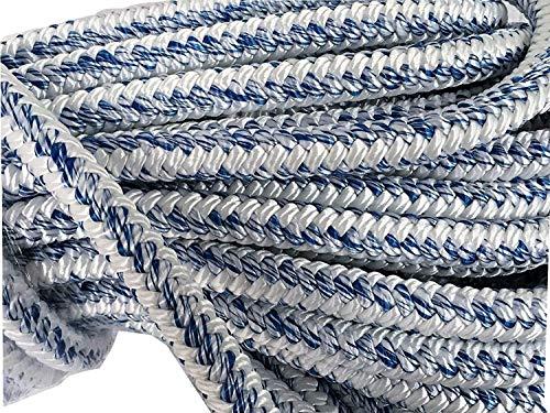 3/4 Inch by 150 Feet 12 Carrier 24 Strand Arborist Bull Rope White Blue