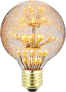 TIANFANエジソン電球花火LED電球AC85-265V装飾電球G95巣シーリングライト電球ナイトライト (G80)