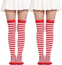 Women's Over Knee Long Sock Striped Thigh High Socks Girl Long Knitting Socks Cute Cosplay Stockings(2 Pairs Red White socks)