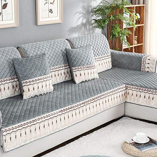 Volle Deckung schonbezug Sofa, Anti-rutsch Plüsch Sofabezug, Moderne schlichtheit Couch abdeckungen, Plüsch Spitze Erker Fenstermatte-Grau_110×160cm