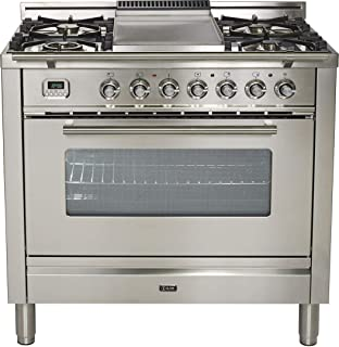 Ilve UPW90FDMPILP 36 Inch Dual Fuel Freestanding Range in Stainless Steel