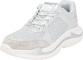 Cambridge Select Women's 90s Ugly Dad Lace-Up Glitter Fashion Sneaker