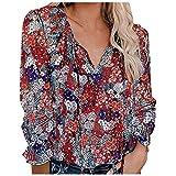 Bilbull Camiseta de manga larga para mujer, monocolor, cuello redondo, de gasa, blusa, verano, informal, cómoda, marine, XL