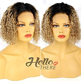 Ombre Human Hair Wigs for Black Women Bob Wig Human Hair Lace Front Wigs 9A Brazilian Virgin Hair Ombre Lace Front Wig Human Hair Wig Bob 2 Tone Lace Front Wig 1B/27 Wig Curly Bob Wig Human Hair 10