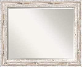 Amanti Art Framed Mirrors for Wall   Alexandria White Wash Mirror for Wall   Solid Wood Wall Mirrors   Medium Wall Mirror 33.12 x 27.12