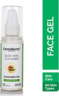 Greenberry Organics Aloe Vera Cucumber SPF 50+ Sunscreen Gel with UVA/UVB Protection, PA+++ For Men & Women, All Skin Types, 50 ML