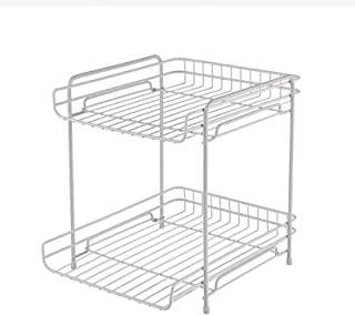 Storage Box, Office Storage Desktop Stationery File Storage Rack, Wrought Iron Double-layer Storage For The Desk On The Be...