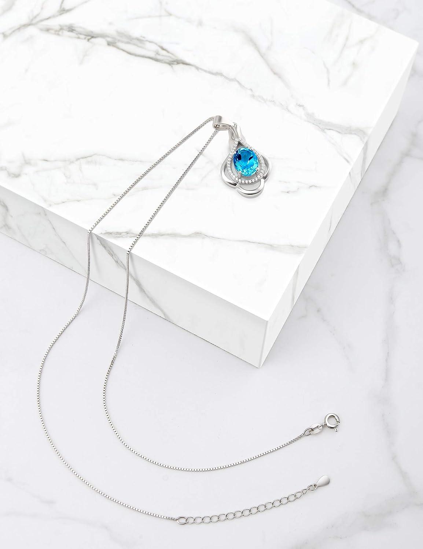 HXZZ Fine Jewelry Natural Gemstone Women Gifts 925 Sterling Silver Swiss Blue Topaz Pendant Necklace
