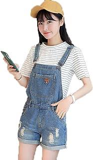 アイビエツ(AIBIETU)サロペット デニム ショート パンツ カジュアル レディース オーバーオール ダメージ ジーンズ 4サイズ