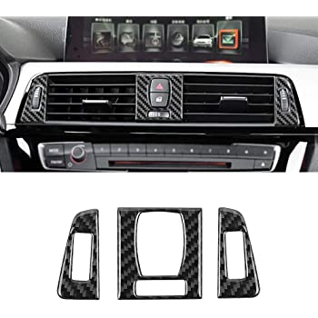 MICOOS Compatible with Carbon Fiber CD Control Console Panel Trim for BMW 3 4 Series GT F30 2013 2014 2015 2016 2017 2018 2019 1Pc Black