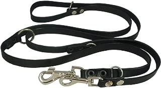 Dogs My Love Black 6 Way European Multifunctional Leather Dog Leash, Adjustable Schutzhund Lead 49