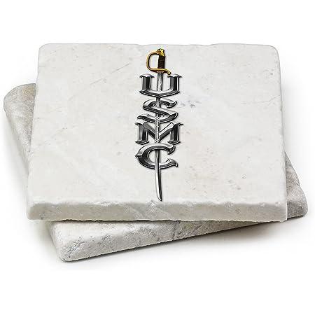 USMC Natural Stone Coaster- USMC MARINE CORPS SWORD Gift Box (Set Of 2)
