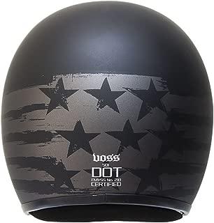 Voss 501 Two Tone Patriot Low Profile DOT Fiberglass Open Face Helmet with Metal Quick Release Mens Slim Shell Lightweight Bobber Retro - L - Two Tone Black
