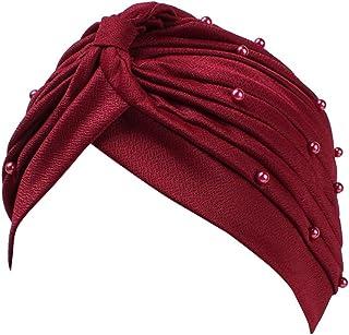 Lightclub Women Turban Hat Faux Pearl Pleated Hijab Stretch Cap