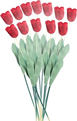 Fourwalls Synthetic Big Tulip Flower (Set of 10, Red)