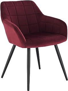 WOLTU 1 pièce Chaise de Salle à Manger Chaise de Cuisine rembourrée en Velours, Pied en métal,Bordeaux BH93bd-1