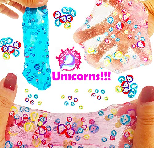 White Tails Unicorn Slime Kit for Girls and Boys 12 Containers of Clear Slime Unicorn Gifts for Girls 4