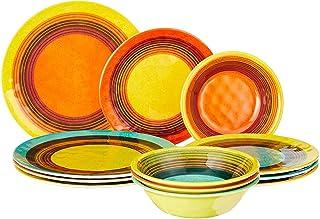 Certified International SED12PC Sedona Melamine 12 pc Dinnerware Set, Service for 4, Multicolored