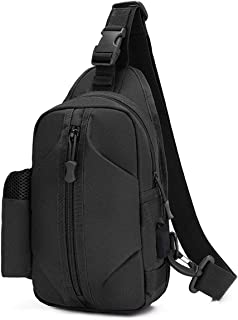 Tactical Sling Bag Military Messenger Bag Chest Satchel with Water Pocket for Camping Hiking Crossbody