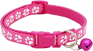GVGs Shop 1 Pack Durable Nylon Paw Cat Collar Small Dog Puppy with Bell Soft Elastic Bow Tag Flower Consummate Popular Extra Large Wide Reflective Safety Breakaway Training Camo Kitten Collars