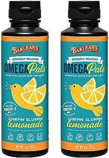 Barlean's Kid's Omega Swirl Fish Oil, Lemonade Flavor, 8-Ounce Bottles (Pack of 2)
