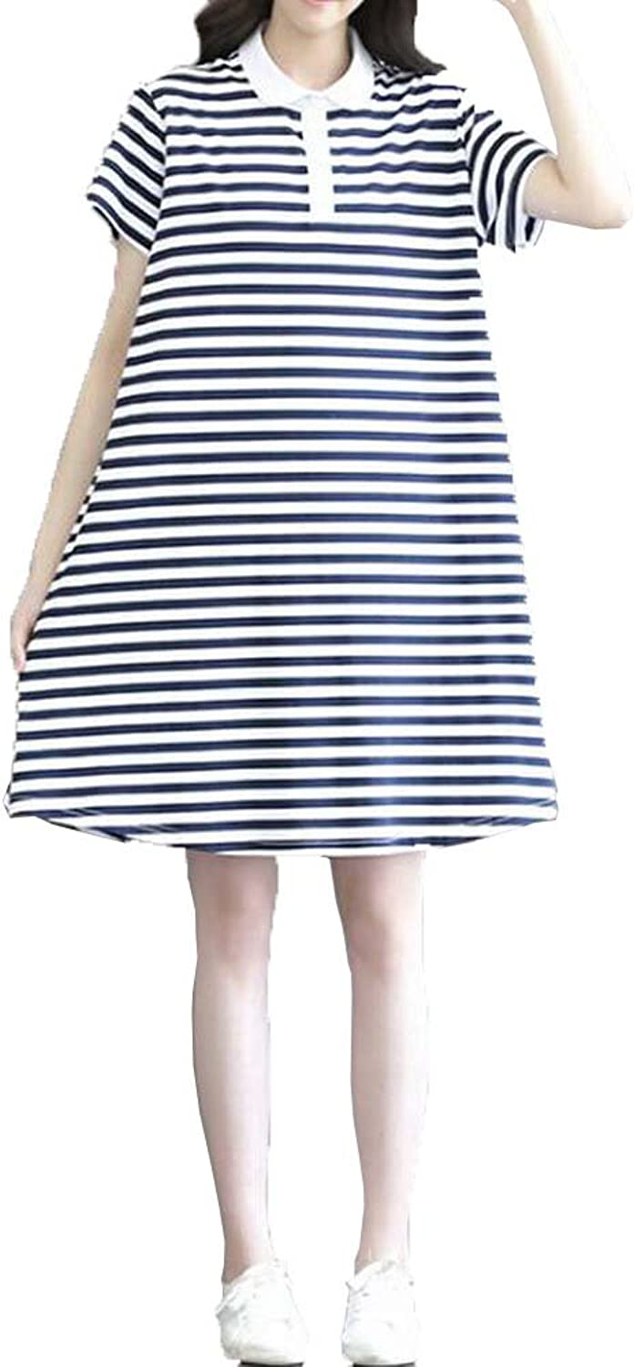 Angel&Lily Loose Fitted Striped Soft Jersey Dress plus1x10x(SZ1652)