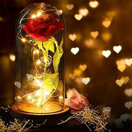 Anaoo Rose Eternelle Sous Cloche Avec Telecommande La Belle Et La Bete Rose Avec Guirlande Led Sous Dome En Verre Sur Socle En Bois Cadeau Romantique Pour Saint Valentin Anniversaire Noel Amazon Fr Cuisine