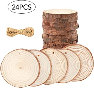 CEWOR Natural Wood Slices 24pcs 3.1-3.5 Inches Crafts Christmas Ornaments Predrilled Craft Wood kit Unfinished Tree Bark Log Discs for DIY Arts Rustic Wedding Decoration