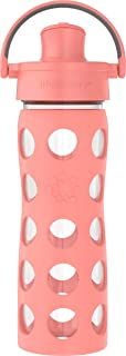 غطاء قابل للطي نشط 473 مل من لايف فاكتوري، زجاجة مياه زجاجية شمام